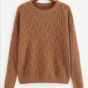 Cable Knit Crew Neck Sweater Tan/Brown